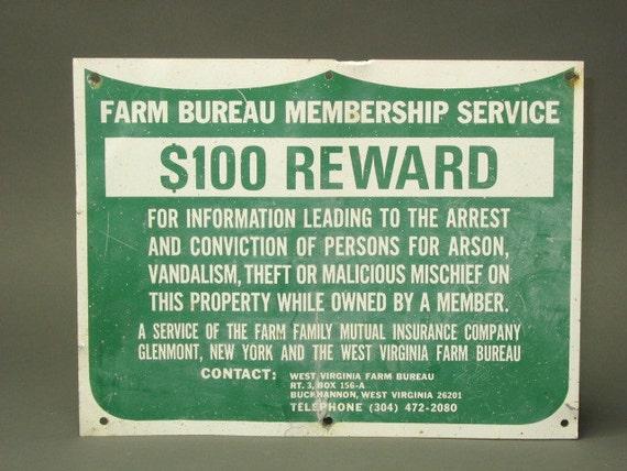 Great Farm Bureau Membership Service REWARD Metal Sign for West Virginia