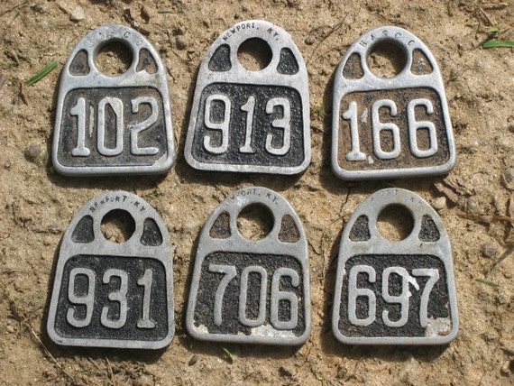 RESERVED -- please do not purchase ---Pre-1951 Aluminum Cow Ear TAGS -- price for one -- choose Which ONE