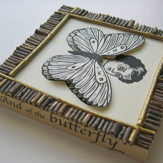 And of the Butterfly linoleum print collage