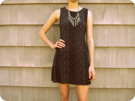 SALE /// 90s Velvety Leopard Mini Dress