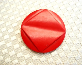 Vintage Art Deco Casein Button - Red Aert Deco Buttons - Large Red Casein Button