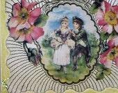 Happy Birthday Card - Vintage Illustration Victorian Picnic - boy and girl picnic, three dimensional 3d card