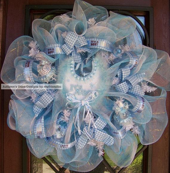 SaLe SaLe Deluxe It's A Boy Baby Deco Mesh Wreath SaLe SaLe