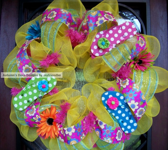 Polka Dot flip Flop Spring and Summer Deco Mesh Wreath