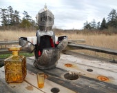 RESERVED for 3 HOURS ONLY.....Vintage King Arthur Knight In Armor Bust Decanter and shot glasses