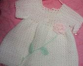 Soft crocheted baby dress sz 3-6 mo
