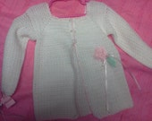 ultra soft sweater /coat with pink crocheted flower
