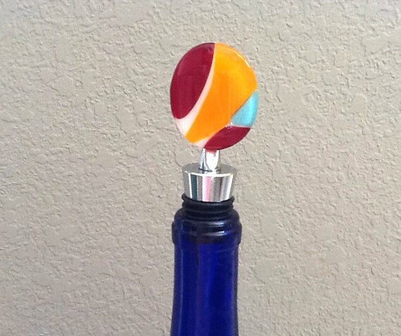 Fused Glass Orange Red and Blue Stopper