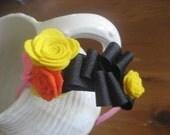 Sophisticated Spring Ribbon and Felt Flower Hairband