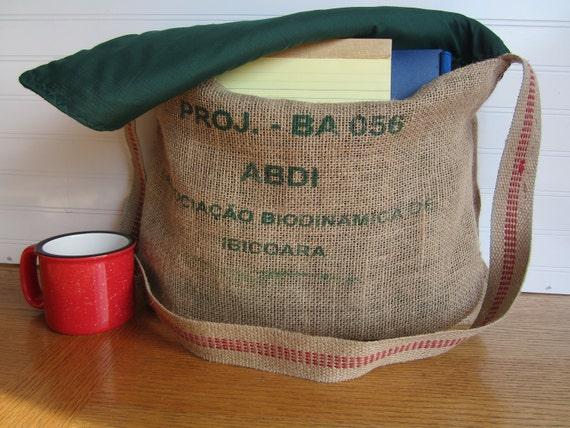 Coffee Burlap Messenger Tote Bag