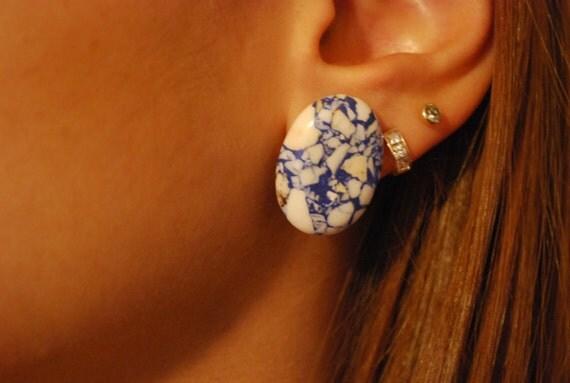 Oval Blue Earrings