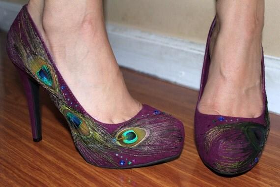 Violet Maroon Peacock Heels Size 7.5
