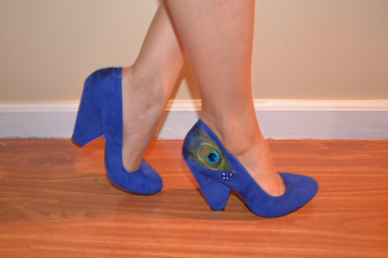 Blue Chunky Heel Shoes - Is Heel