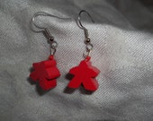 Red Meeple Earrings