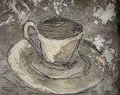 Coffee Cup Aquatint Etching Blank Greeting Card