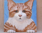 8 X 8 3D butterscotch and white cat