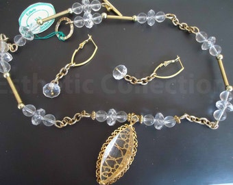 Clear Beaded Necklace with Matching Earrings
