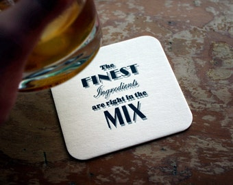 In the MIX - Letterpress Coasters, Set of 4