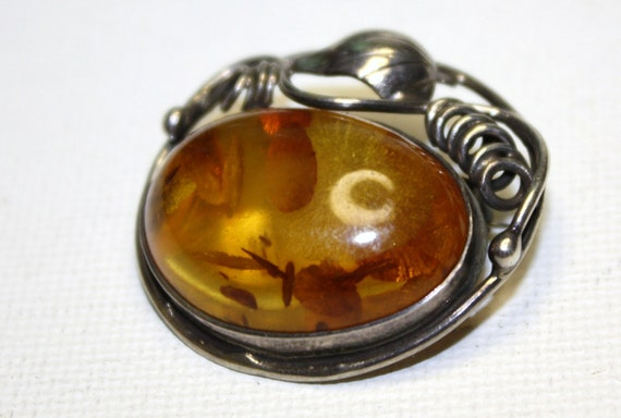 SALE Vintage Brooch  Sterling Genuine Amber 1920s Jewelry