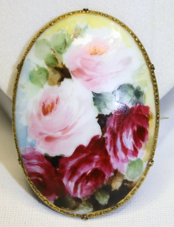Victorian Brooch Roses Hand Painted Porcelain 1920s jewelry
