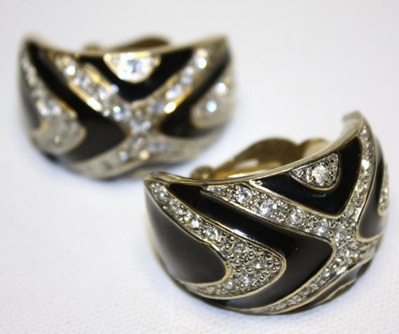 Vintage Earrings Runway Statement Enamel Rhinestone Zebra  Couture