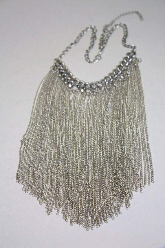 Vintage Silver Chain Bib Fashion Necklace