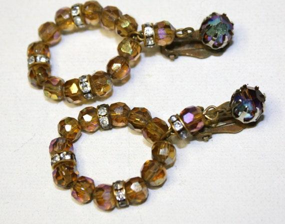 Vintage AB Crystal Rhinestone Hoop Dangle Earrings