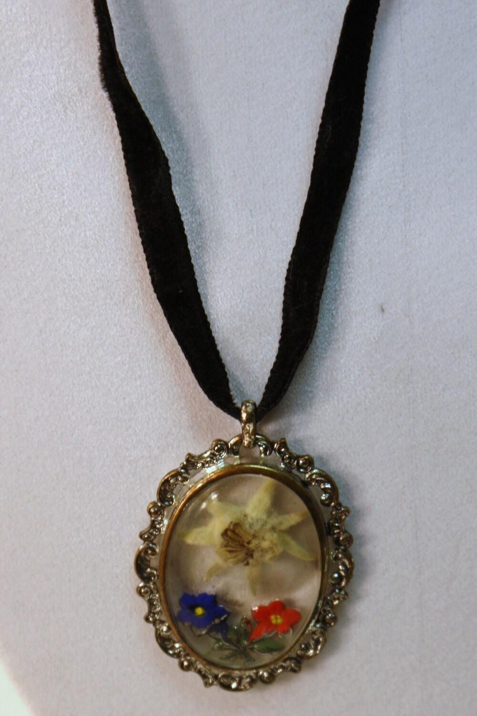 Antique Vintage Dried Edelweiss Flower Enamel Pendant