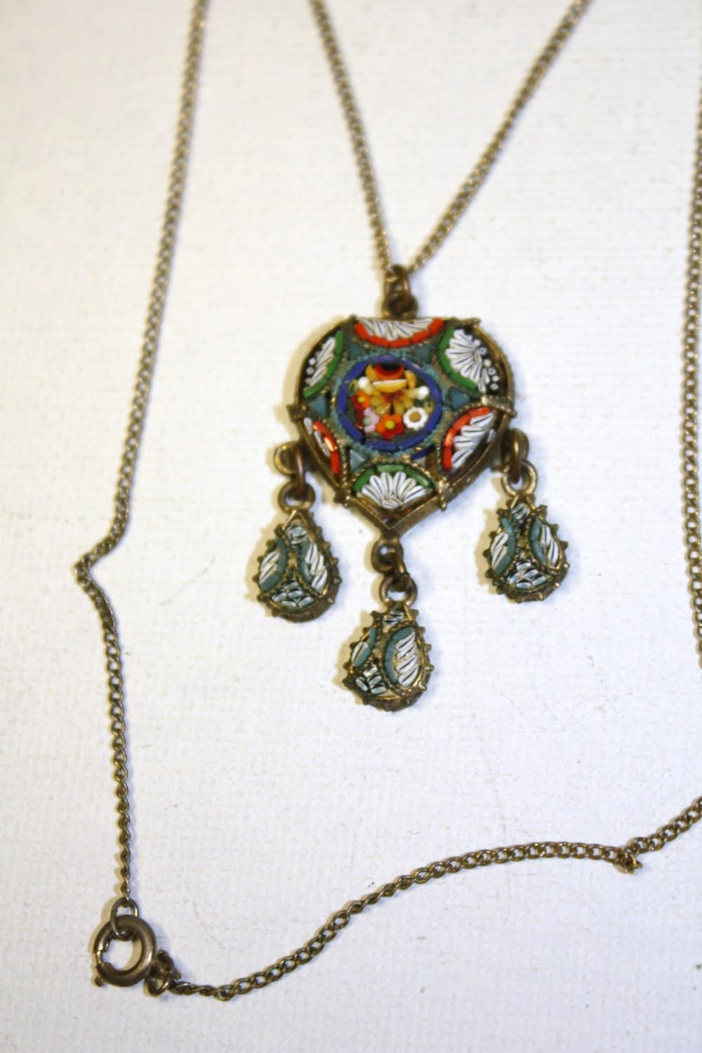 deco necklace micro mosaic 1920s jewelry italy