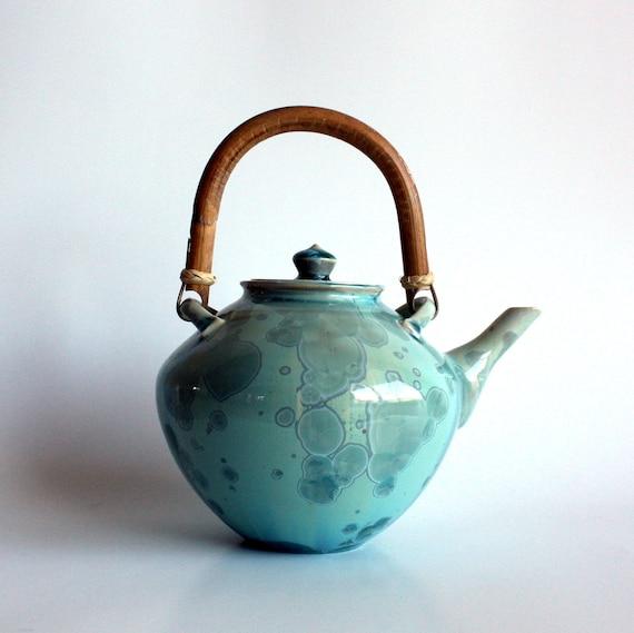 Aqua Teapot with Cane Handle