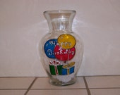 Hand Painted Glass VASE - HAPPY BIRTHDAY on Balloons and Birthday presents