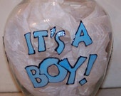 """7"""" Hand Painted glass vase IT's A BOY"""