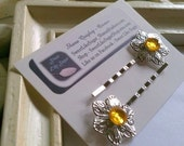 Silver Flower Hairpins with Amber Accent