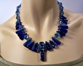Blue Dichroic Glass Bead Necklace