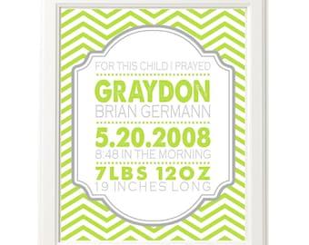 Modern Chevron Birth Announcement Nursery Print