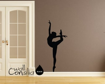 "Ballerina Wall Decal - Ballerina Wall Sticker - Dancer Wall decal - Home decor wall decal - 58"" high and 22"" wide - W024"
