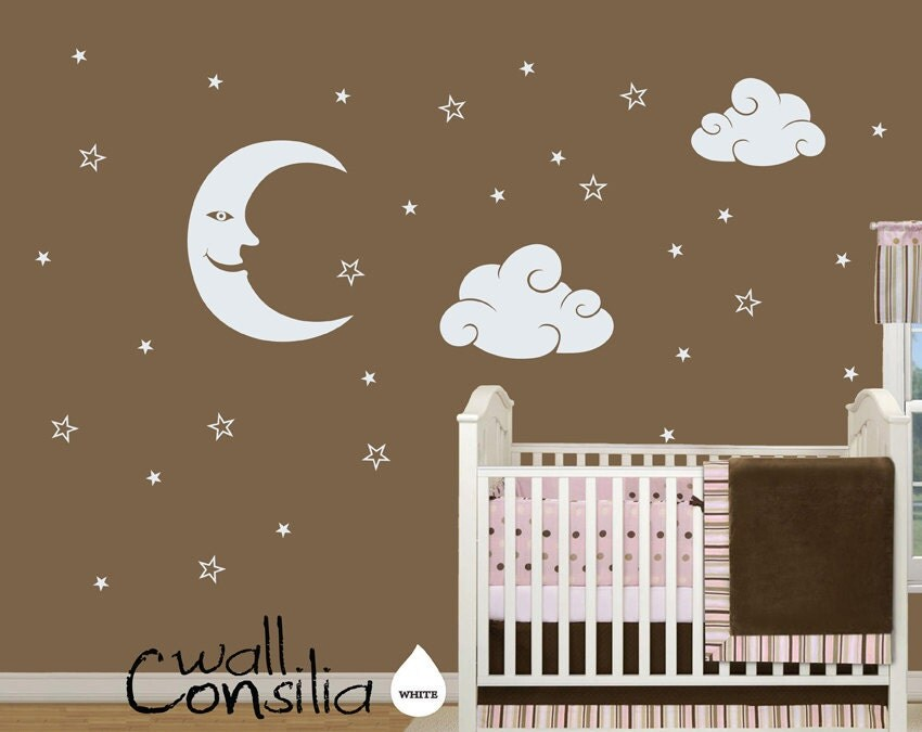 baby nursery wall decal moon stars and clouds wall decal. Black Bedroom Furniture Sets. Home Design Ideas