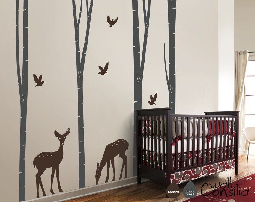 Baby Nursery Wall Decals Birch Trees Decal Tree by WallConsilia