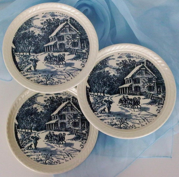 Currier Ives Royal China USA, American Homestead Winter Pattern, Hostess Set Serving Plates, Christmas Holiday Entertaining Décor, Set of 3
