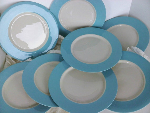 Robins Egg Blue Banded Dinner Plates set of 8