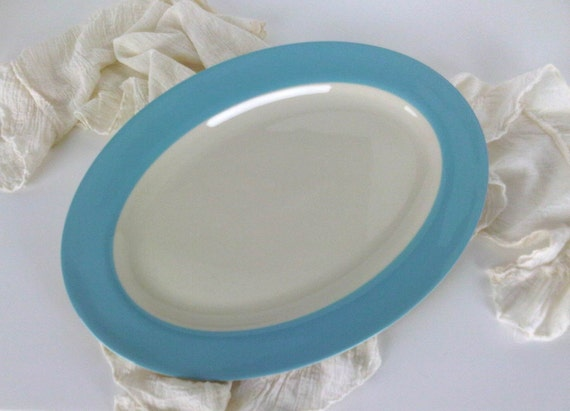 Robins Egg Blue Banded Dinnerware Large Serving Platter