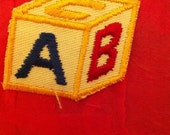 Easy as ABC - building blocks for baby - applique in primary colors - fabric patch - PIF