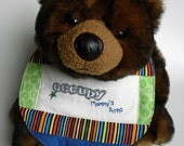 Occupy Mommy's Arms - Hand Embroidered Quilted Baby Bib