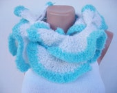Turquoise Scarf - Ruffled Scarf - Free Shipping