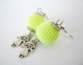 Neon Yellow - Crocheted bead earrings - Free shipping