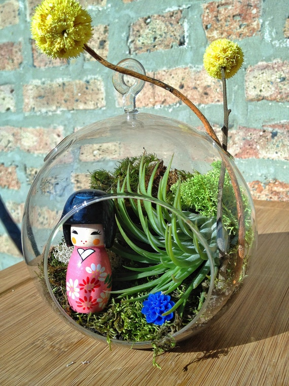 Japanese Kokeshi Style Doll and Air Plant Terrarium