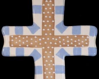 Ceramic Cross-Keep the Faith Brown and Blue