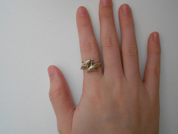 Sterling Silver Circling Dolphins Ring Sz 5.75