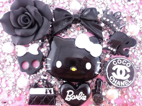 hello kitty black deco kit DIY resin flatback cabochon