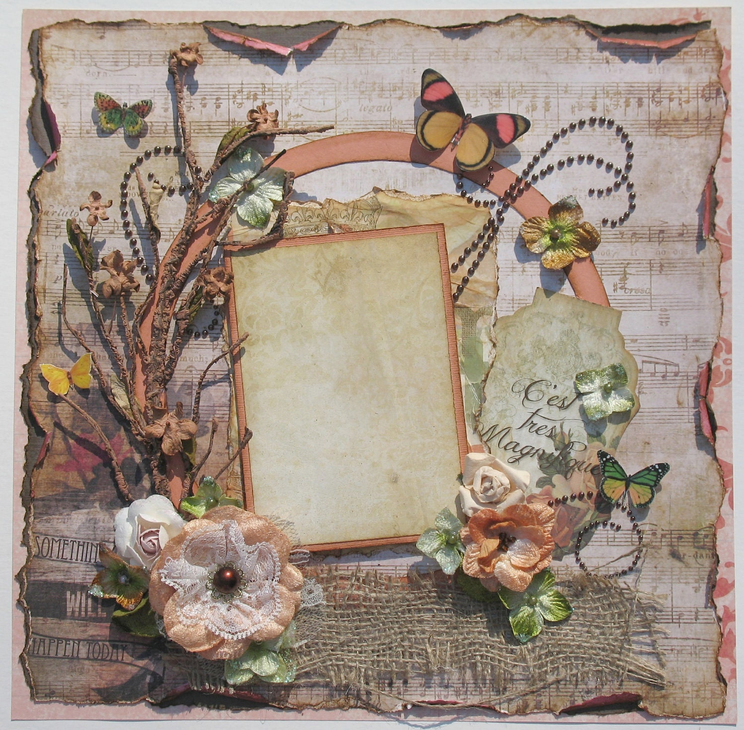 Premade Scrapbook Page Shabby Chic Layout Vintage